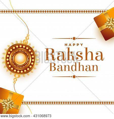 Raksha Bandhan Gifts Festival Card Design Vector Illustration
