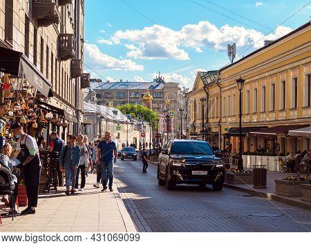Moscow, Russia - May 24, 2021: View Of Zabelina Street And The Church Of All Saints On Kulishki
