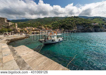 Beach And Port Of The Monterosso Al Mare Village, Tourist Resort On The Coast Of The Cinque Terre Na
