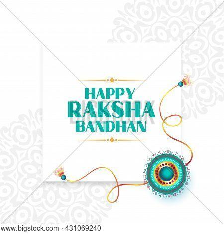 Raksha Bandhan Indian Style White Greeting Design Vector Illustration