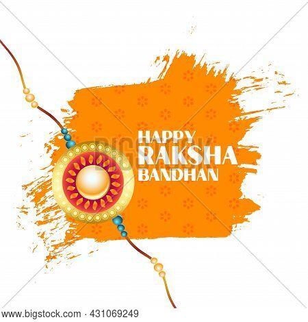 Happy Raksha Bandhan Watercolor Stroke Greeting Design Vector Illustration