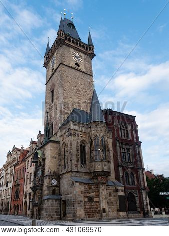 Old Town Hall Staromestska Radnice Tower In Prague, Czech Republic With Astronomical Clock