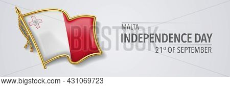 Malta Happy Independence Day Greeting Card, Banner With Template Text Vector Illustration