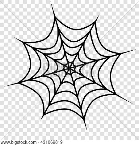 Vector Outline Spider Web Isolated On Transparent Background