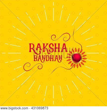 Stylish Raksha Bandhan Yellow Greeting Design Vector Illustration