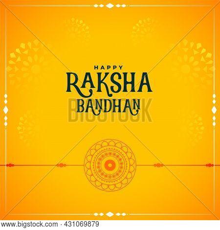 Traditional Raksha Bandhan Yellow Greeting Design Vector Illustration