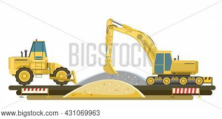 Equipment For The Construction Of Buildings And Roads. A Scene With An Excavator And A Bulldozer. Mo