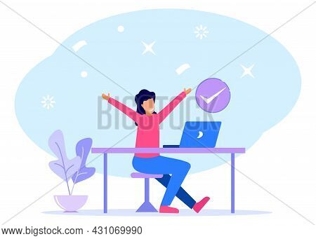 Modern Vector Illustration. The Young Businessman Gets The Job Done And Is Happy By Raising His Hand