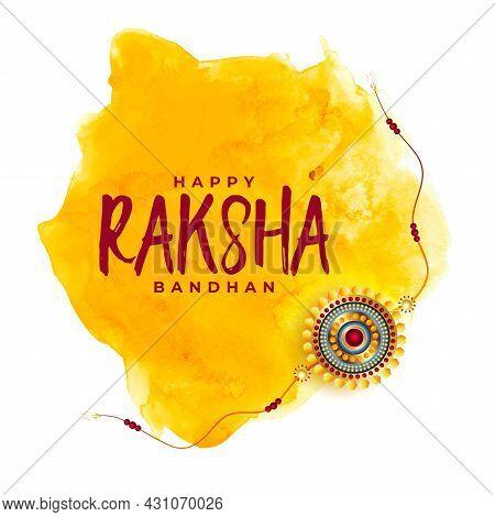 Happy Raksha Bandhan Watercolor Greeting Design Vector Illustration