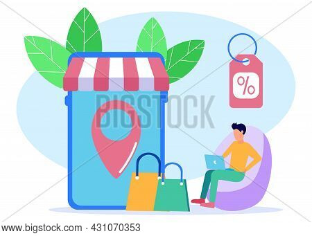 Young Man Order Goods Via Digital. Online Delivery Service Web Banner Template. Smartphone With Mobi