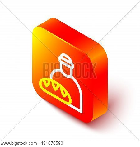 Isometric Line Feeding The Homeless Icon Isolated On White Background. Help And Support. Giving Food
