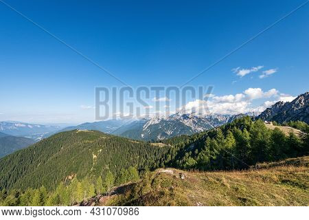 Summer Landscape In Julian Alps Seen From The Monte Santo Di Lussari, Val Canale Valley, Tarvisio, F