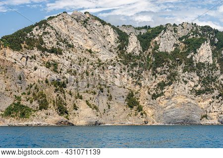 Cliffs And Mediterranean Sea, Coast Of The Cinque Terre National Park, Unesco World Heritage Site. L