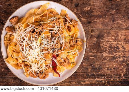 Fettuccine Pasta With Tomato Sauce And Sausage Ragout - Country Dish Of The Italian-american Pasta W