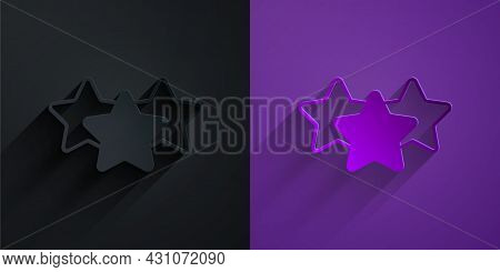 Paper Cut Five Stars Customer Product Rating Review Icon Isolated On Black On Purple Background. Fav