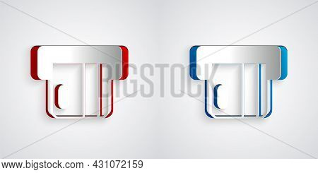 Paper Cut Credit Card Inserted In Card Reader Icon Isolated On Grey Background. Atm Cash Machine. Pa