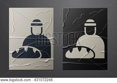 White Feeding The Homeless Icon Isolated On Crumpled Paper Background. Help And Support. Giving Food