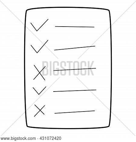 Questionnaire, Checklist, To-do List, Questionnaire, Voting Form. A Sheet With Ticks And Crosses. Ha