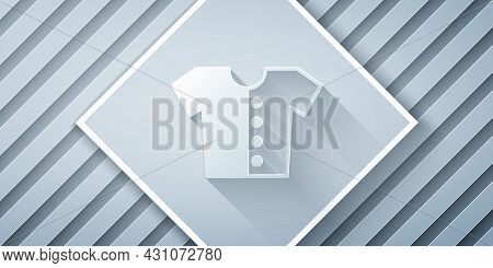Paper Cut Baby T-shirt Icon Isolated On Grey Background. Baby Clothes Symbol. Kid Wear Sign. Paper A