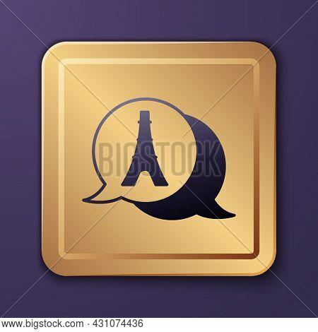 Purple Eiffel Tower Icon Isolated On Purple Background. France Paris Landmark Symbol. Gold Square Bu