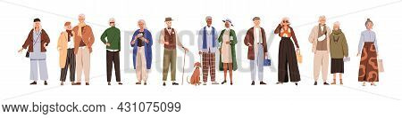 Modern Old People And Senior Couples Set. Stylish Elderly Man And Woman In Fashion Casual Clothing.