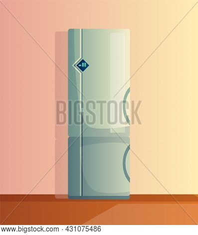 Kitchen Interior Cartoon Vector Illustration. Home Cooking Room With Fridge. Appliances For Home