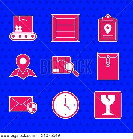 Set Search Package, Fast Time Delivery, Fragile Broken Glass, Envelope, With Shield, Placeholder On