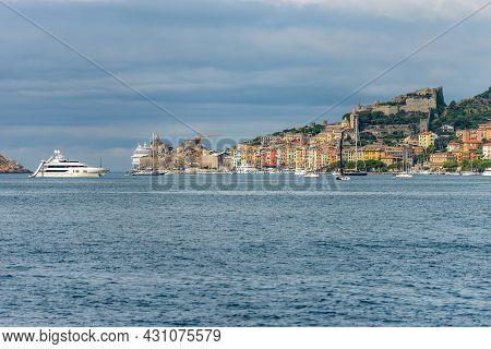 Cityscape Of Porto Venere Or Portovenere In The Gulf Of La Spezia, Seen From The Sea, Unesco World H