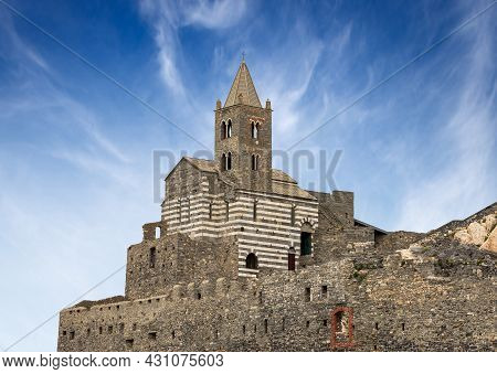 Medieval Church Of San Pietro (st. Peter, Consecrated In 1198) In Portovenere Or Porto Venere Town,