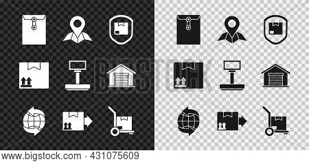 Set Envelope, Placeholder On Map Paper, Delivery Pack Security With Shield, Worldwide, Cardboard Box