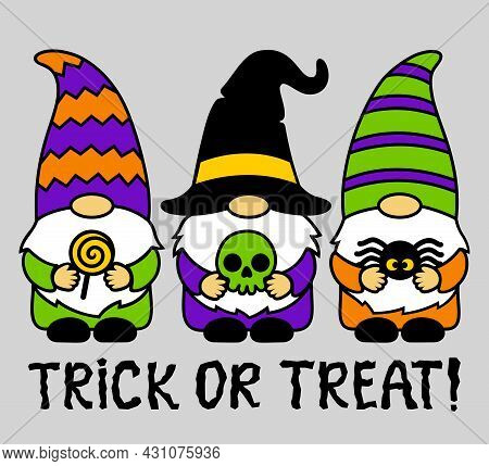 Halloween Gnomes With Lollipop, Skull,spider. Trick Or Treat. Cute Cartoon Characters. Holidays Gree