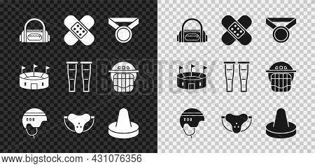 Set Sport Bag, Crossed Bandage Plaster, Medal, Hockey Helmet, Protective Sport Jockstrap, Mallet For