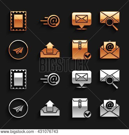 Set Upload Inbox, Envelope With Magnifying Glass, Mail And E-mail, Check Mark, Paper Plane, Speech B