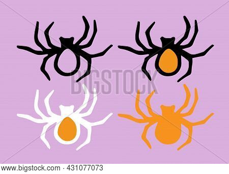 A Vector Set Of Orange-colored Spiders With A Black Outline Is Drawn In The Style Of Doodles. Collec