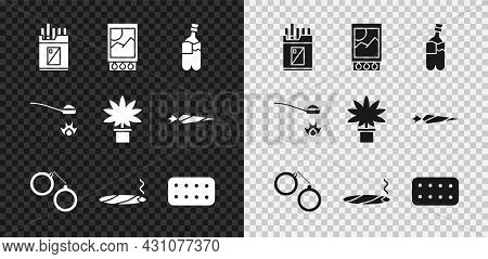 Set Open Cigarettes Pack Box, Matchbox And Matches, Bong For Smoking Marijuana, Handcuffs, Cigar Wit