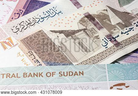 Close Up To Fifty Pounds Of The Republic Of Sudan. Paper Banknote Of The African Sudanese Country. D