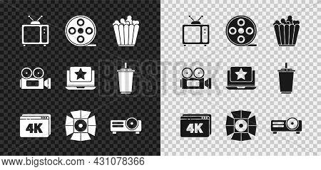 Set Retro Tv, Film Reel, Popcorn In Box, Online Play Video With 4k, Movie Spotlight, Movie, Film, Me