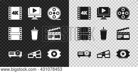 Set 4k Movie, Tape, Frame, Online Play Video, Film Reel, Movie, Film, Media Projector, 3d Cinema Gla