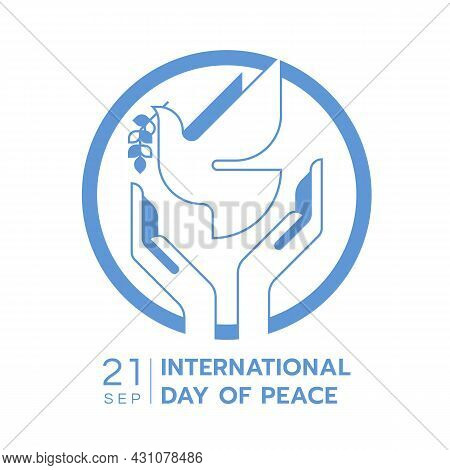International Day Of Peace - Hands Are Letting The Dove Of Peace To Fly In Circle With Modern Blue L