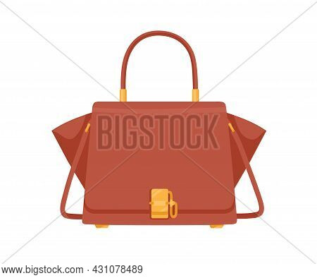 Fashion Women Trapeze Flap Bag With Handle, Shoulder Strap And Gold Buckle. Modern Stylish Handbag W