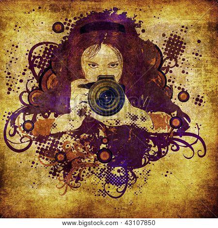 Photographer Girl Grunge Illustration