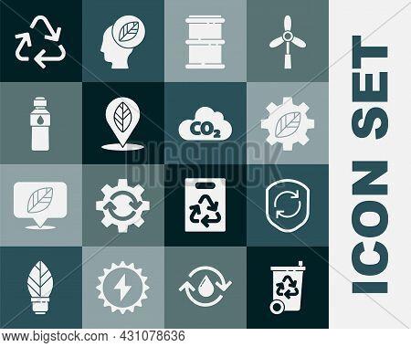 Set Recycle Bin With Recycle, Symbol Inside Shield, Leaf Plant Gear Machine, Barrel, Location Leaf,
