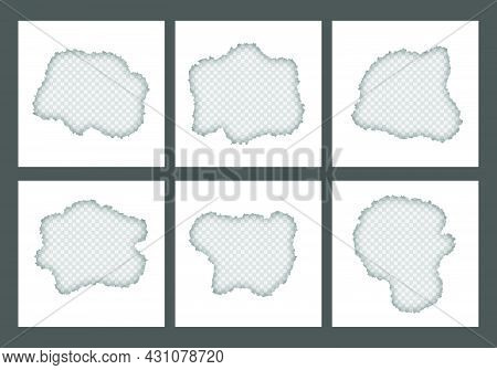 Blank White Ripped Torn At Center Square Paper Sheets Collection