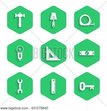 Set Triangular Ruler, Ruler, Old Key, Construction Bubble Level, Wrench Spanner, Angle Grinder, Roul