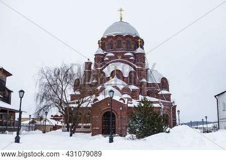 Building Of Cathedral In Name Of Icon Of Mother Of God Of All Who Sorrow Joy In Village Of Sviyazhsk