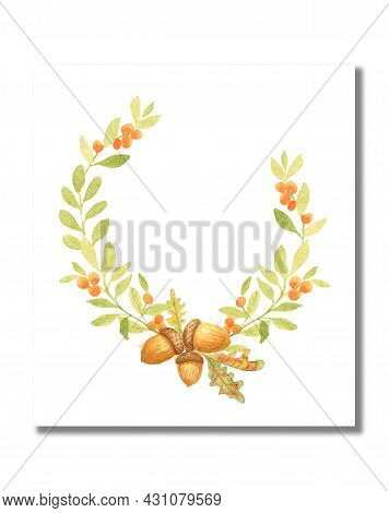 Watercolor Autumn Wreath With Oak Leaves And Acorns. Congratulatory Autumn Card. Blank Template For