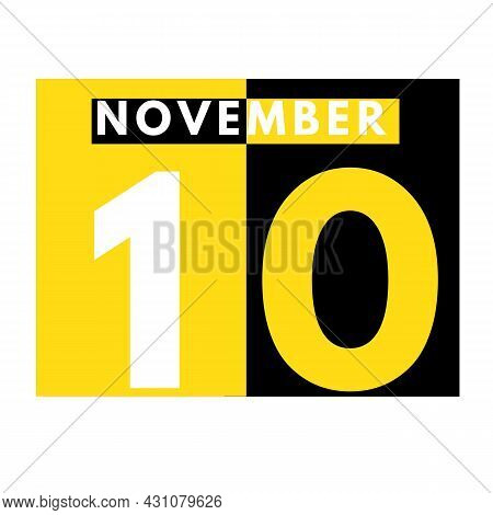 November 10 . Modern Daily Calendar Icon .date ,day, Month .calendar For The Month Of November