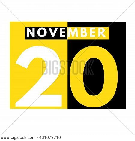 November 20 . Modern Daily Calendar Icon .date ,day, Month .calendar For The Month Of November