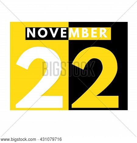 November 22 . Modern Daily Calendar Icon .date ,day, Month .calendar For The Month Of November