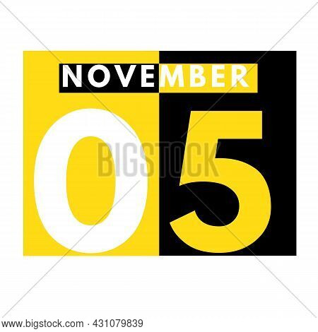 November 5 . Modern Daily Calendar Icon .date ,day, Month .calendar For The Month Of November